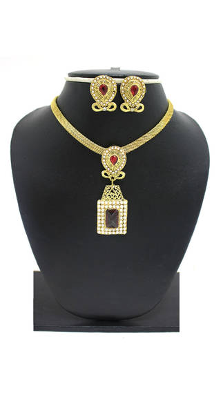 Zaveri Pearls Red Zinc Pendant Set