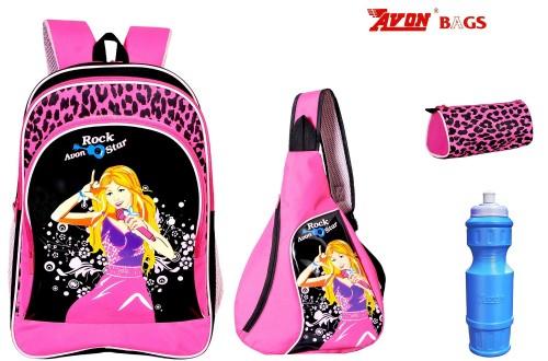 Avon Rockstar Black & Pink 18 Student Backpack Combo