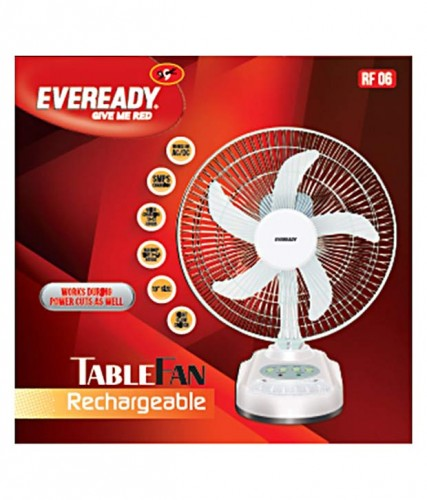 Eveready 10 Inches RF06 Rechargeable Table Fan White