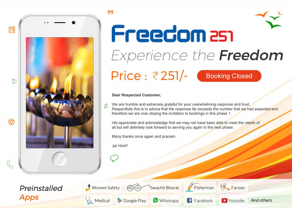 freedom 251 booking closed
