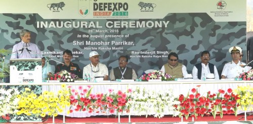Defence Minister Shri Manohar Parrikar addressing at the inauguration of 9th Edition of Defexpo-16 at Goa on 28 Mar 2016