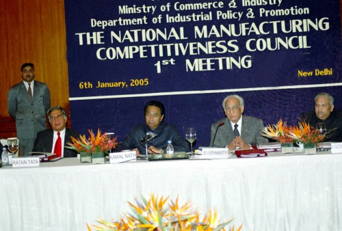 The Union Minister of Commerce and Industry Shri Kamal Nath addressing a meeting of the National Manufacturing Competitiveness Council (NMCC) in New Delhi on January 6, 2005.