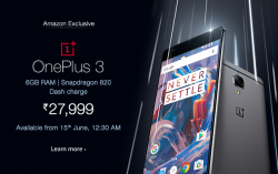 OnePlus 3 available from 15th June, 12:30 AM exclusively on Amazon India