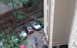 Heavy rain causes wall to collapse over 10 cars in Runwal Estate in Manpada