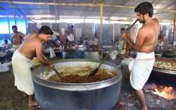 Food Preparation for Anayoottu (Elephant Feast)