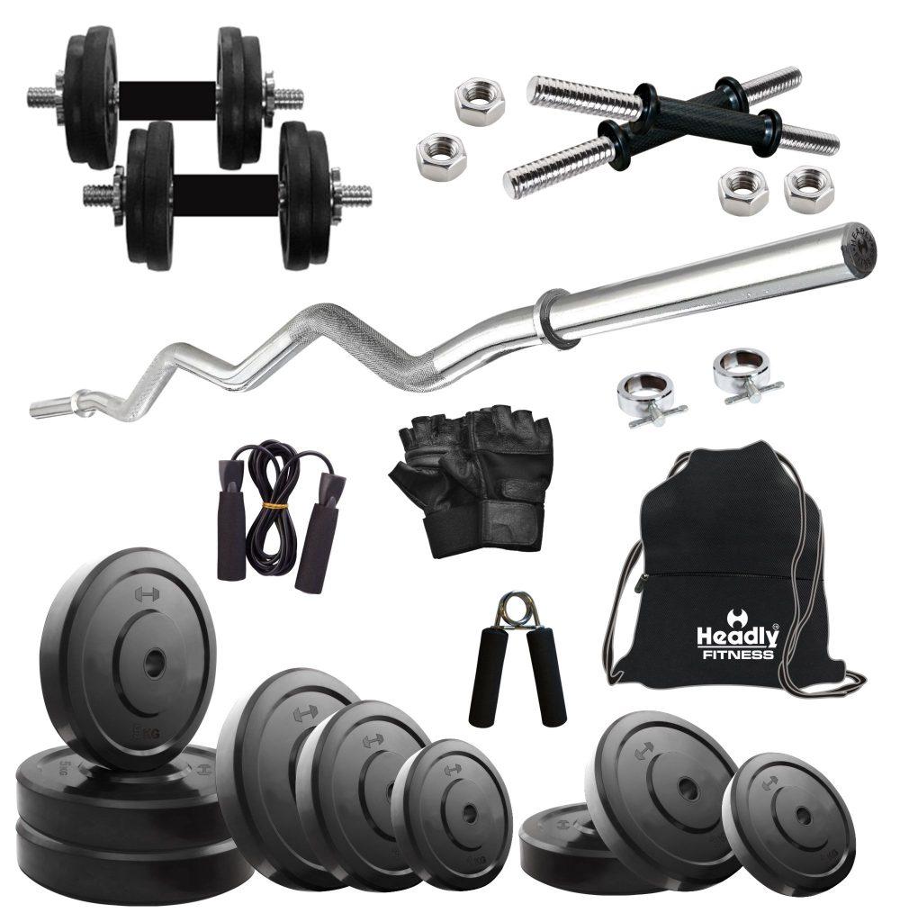 Headly 35 kg home gym 14 inch dumbbells curl rod gym backpack