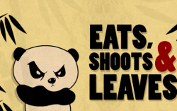 A panda walks into a restaurant